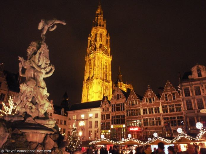 Town Square and the Cathedral of Our Lady in Antwerp, Belgium.