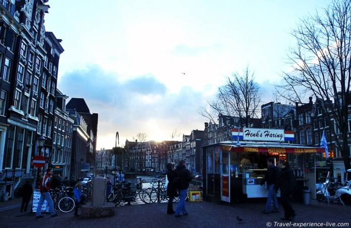 Herring food stall in Amsterdam.