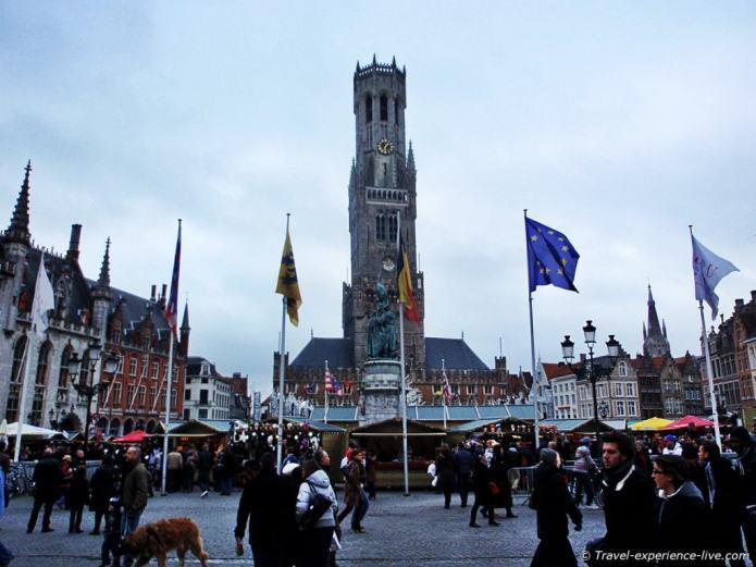 Belfry and Christmas markets in Bruges, Belgium.