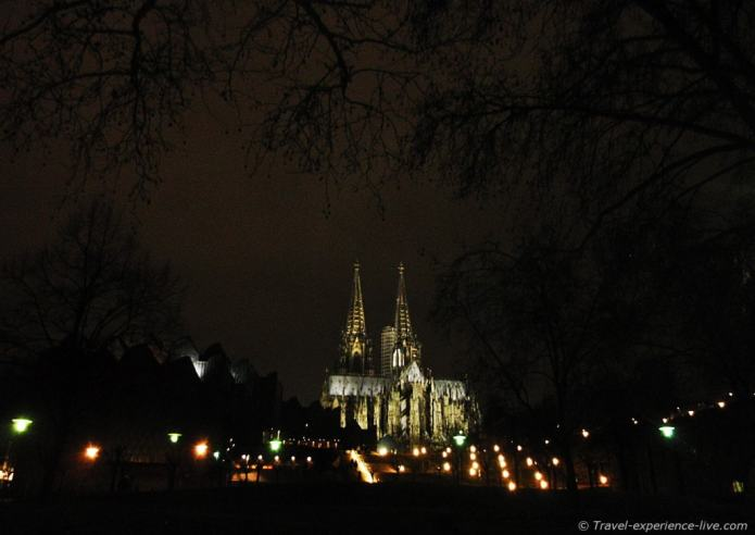 Cologne Cathedral by night; Germany.