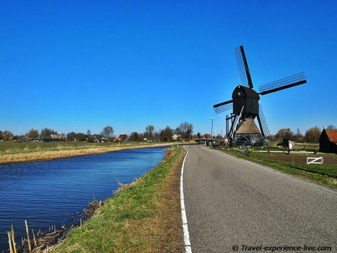 The Netherlands: windmills and canals.