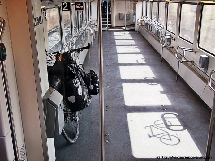 Bicycle on train in Germany.