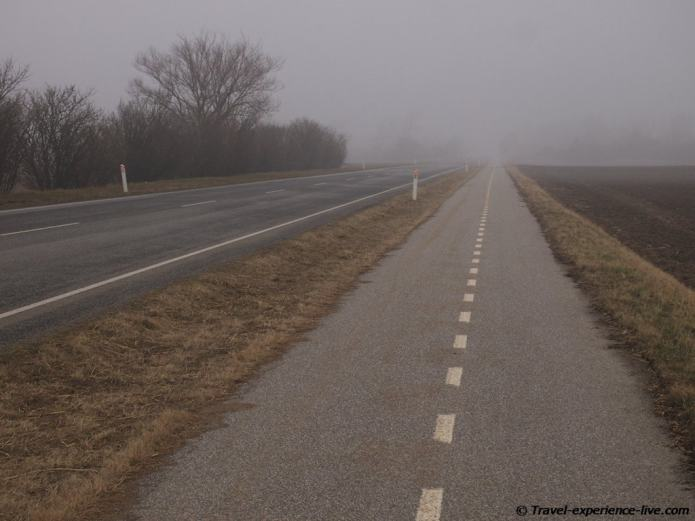 Misty day in Lolland, Denmark.
