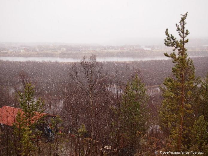 Snow in Karasjok, Norway.
