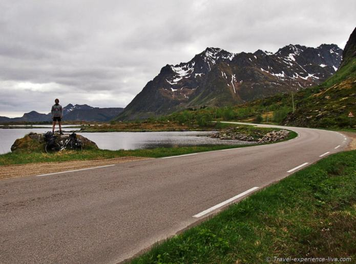 Cycling in the Lofoten, Norway.