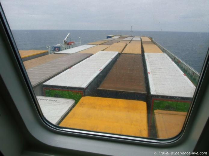 Cargo ship across North Sea.