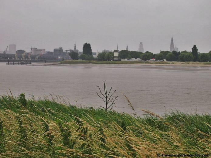Scheldt river and Antwerp, Belgium.