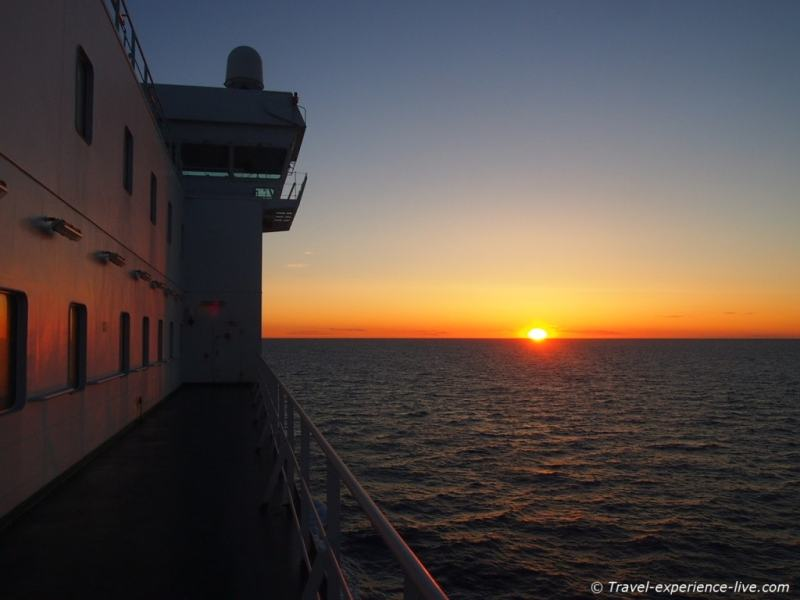 Sunset on a cargo ship at the North Sea.