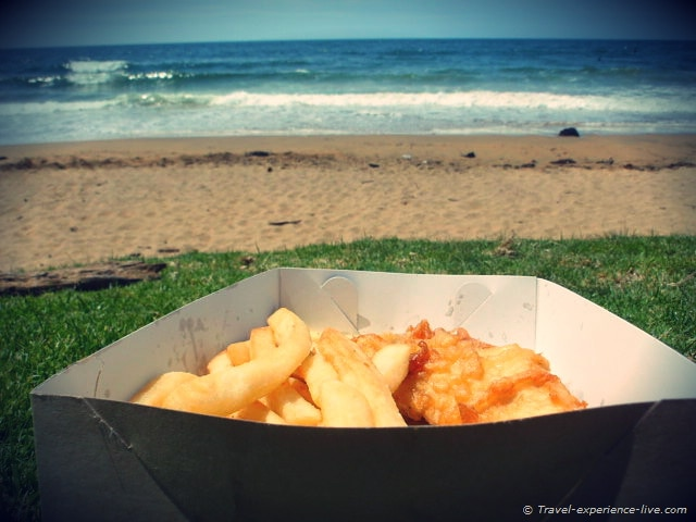 Fish and chips on the beach, Tasmania road trip.