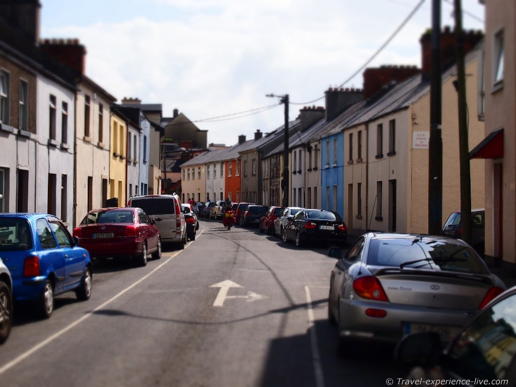 Typical street in Galway, Ireland.