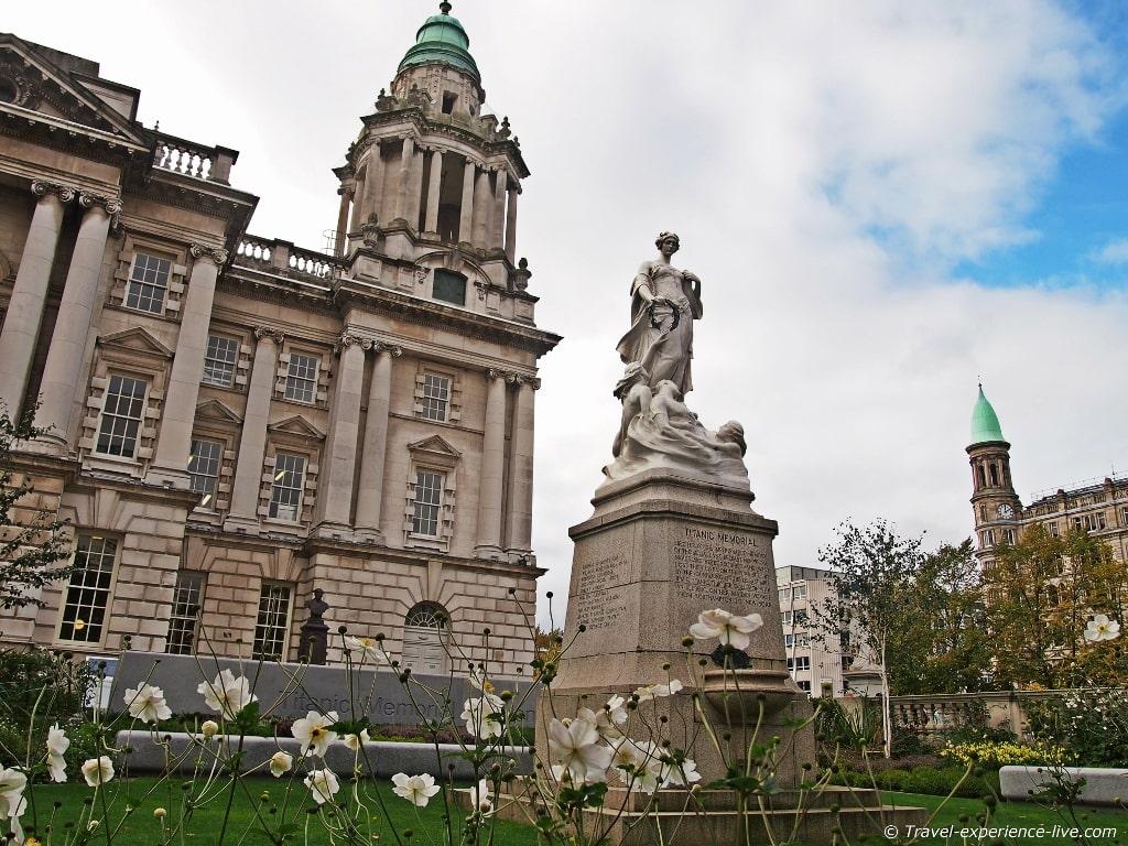 Titanic Memorial in front of the City Hall in Belfast.