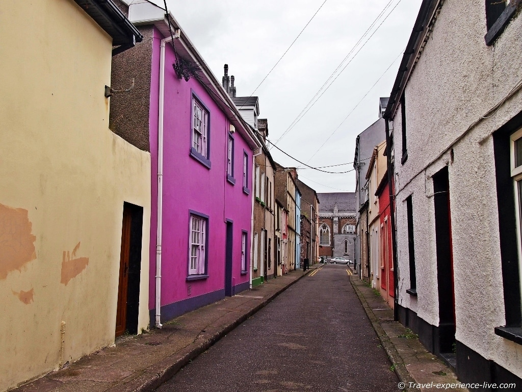 Narrow street in Cork, Ireland.