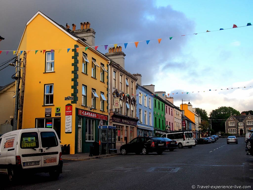 Colorful street in Kenmare, Ireland.