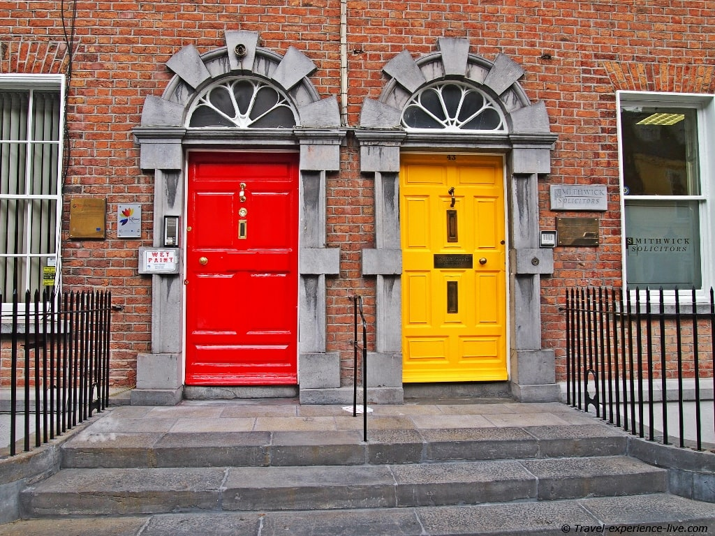 Colored doors in Kilkenny, Ireland.