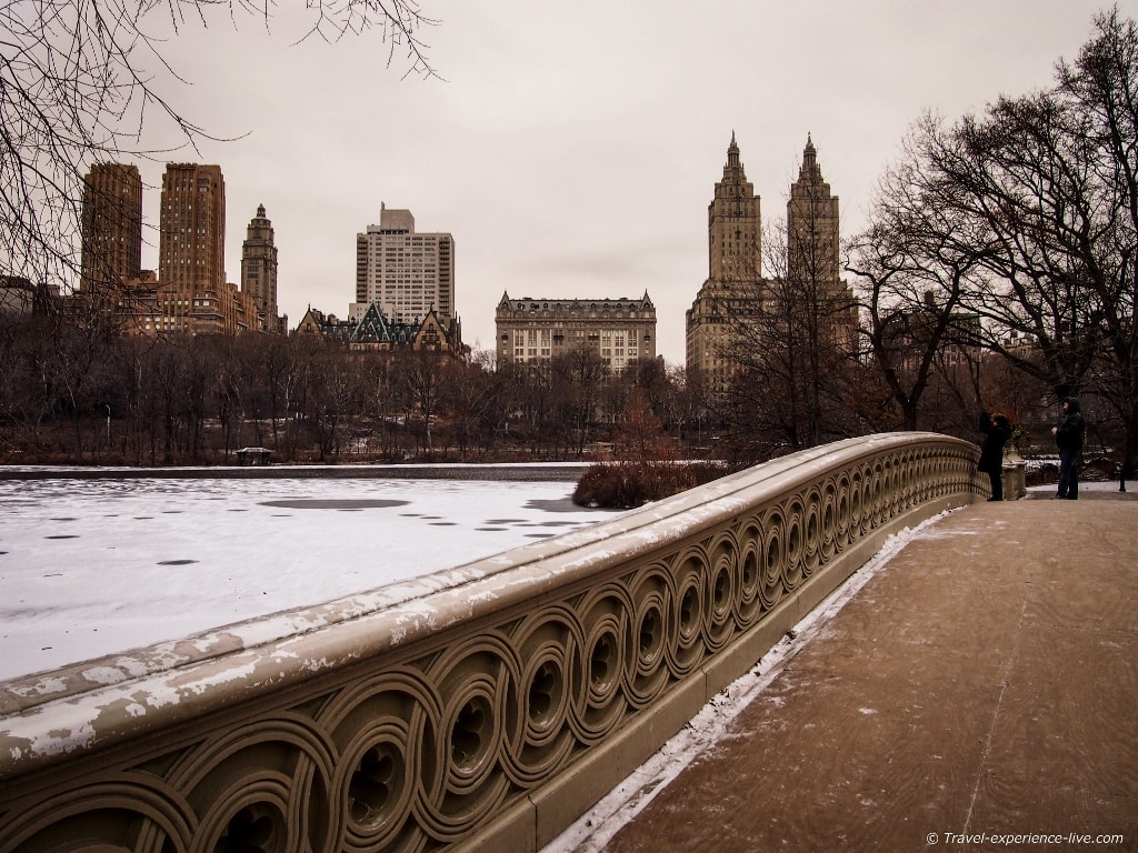 Bow Bridge crossing The Lake in Central Park, New York City.