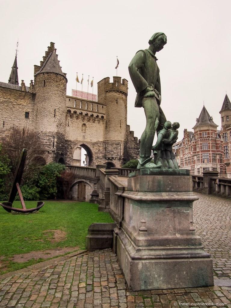 Lange Wapper statue in front of Het Steen, Antwerp, Belgium.