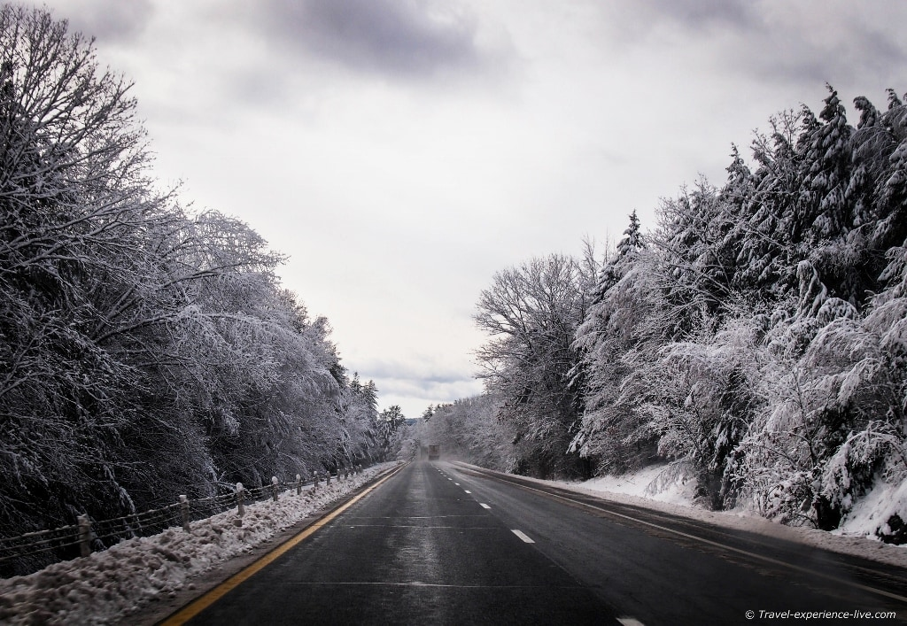 Snow on the roads in New England.