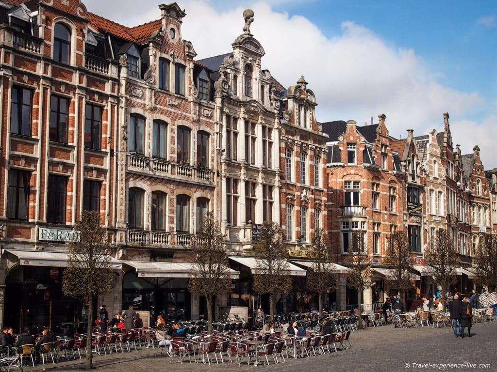 Gorgeous buildings at the Old Market of Leuven