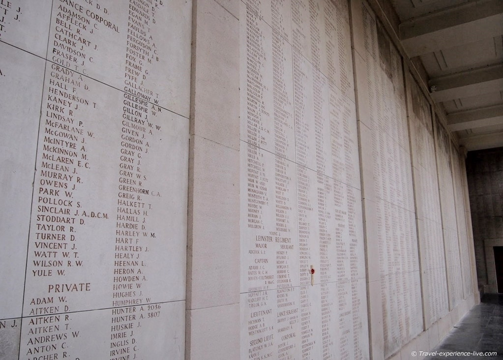 Names of missing soldiers in the Menin Gate, Ypres