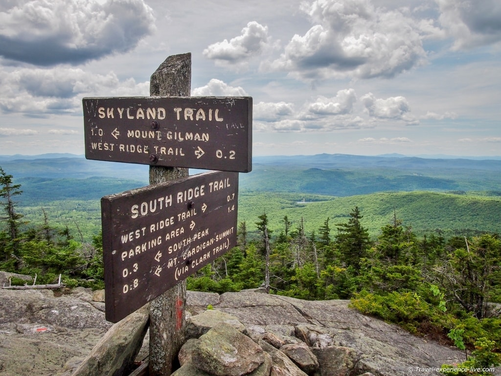Trail signs on Mt Cardigan, New Hampshire.