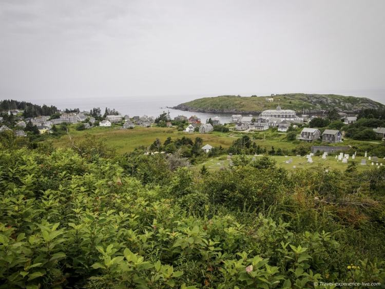 Monhegan Island village, seen from the lighthouse, Maine.
