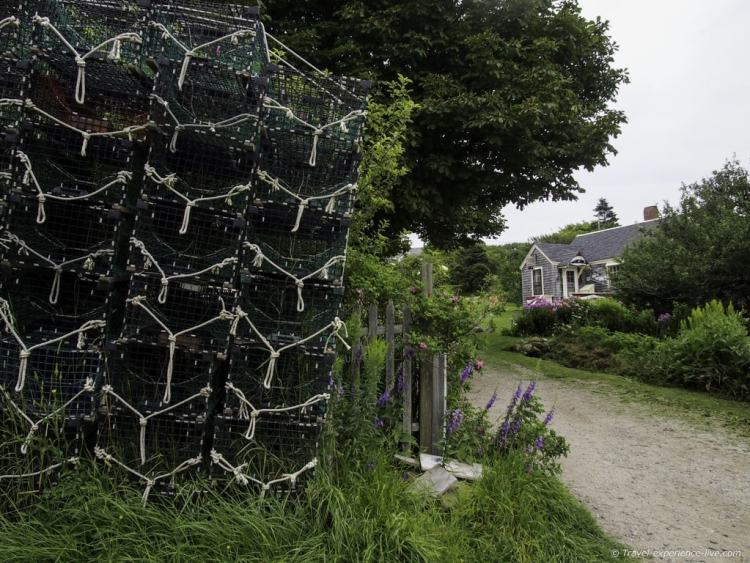 Lobster cages in Monhegan, Maine.