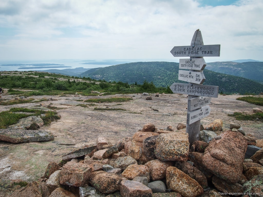 Hiking trail signs in Acadia National Park, Maine.