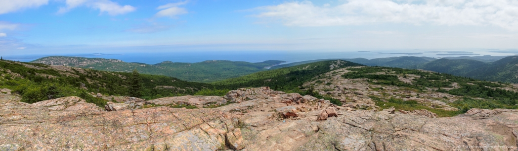 Panoramic view from Cadillac Mountain's summit.