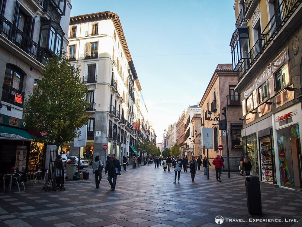 Wide shopping street in Madrid