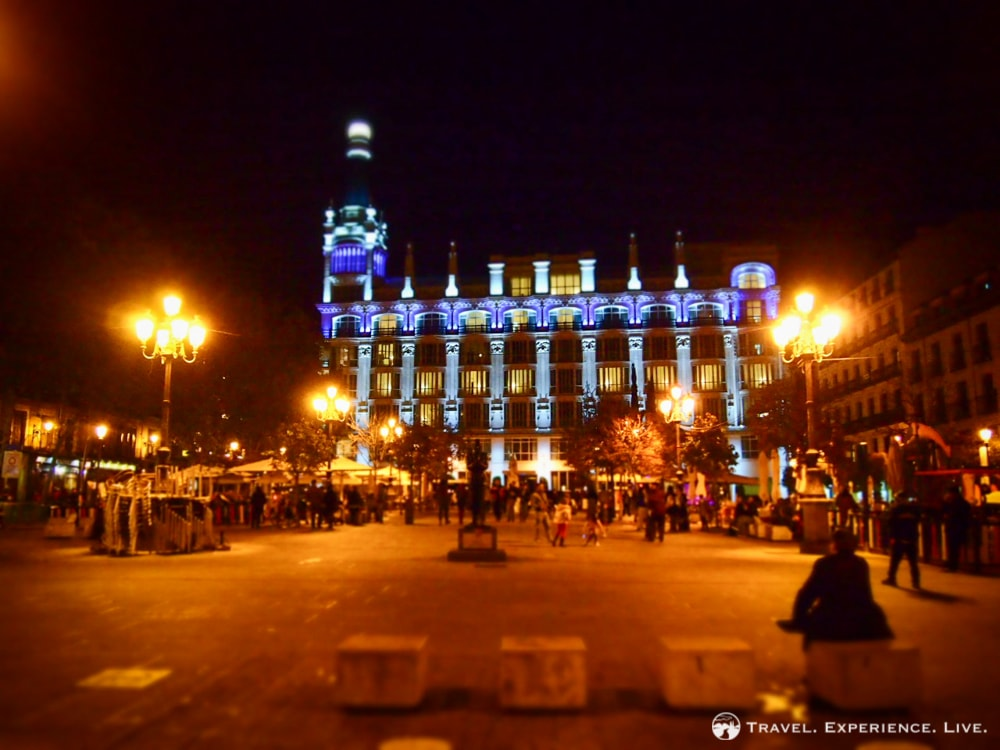 Beautifully lit building at a square in Madrid