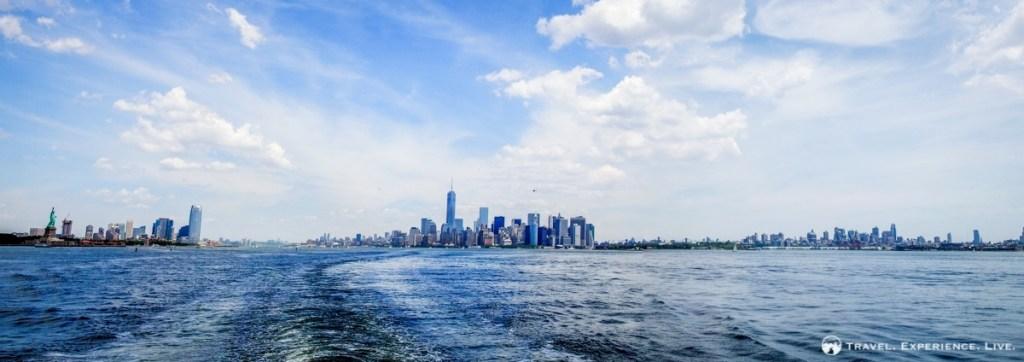 Travel panorama of the Lower Manhattan skyline