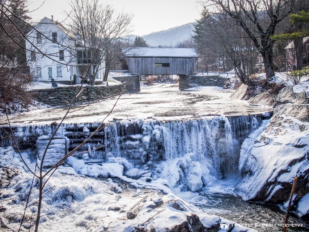 A frozen scene in Warren, Vermont