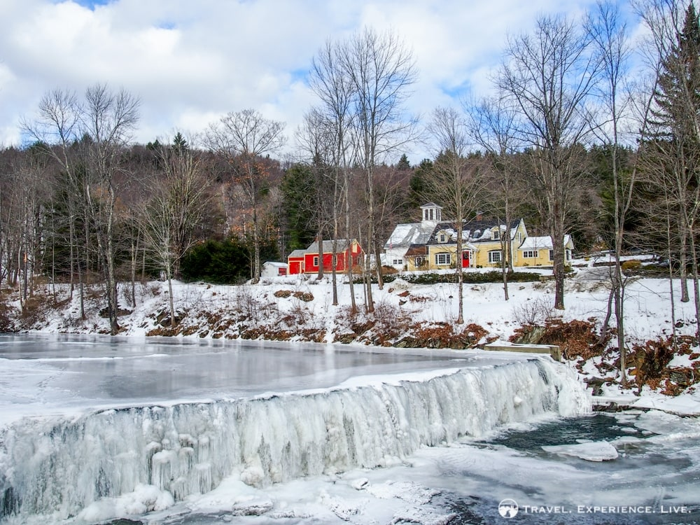Frozen river and waterfall, Vermont