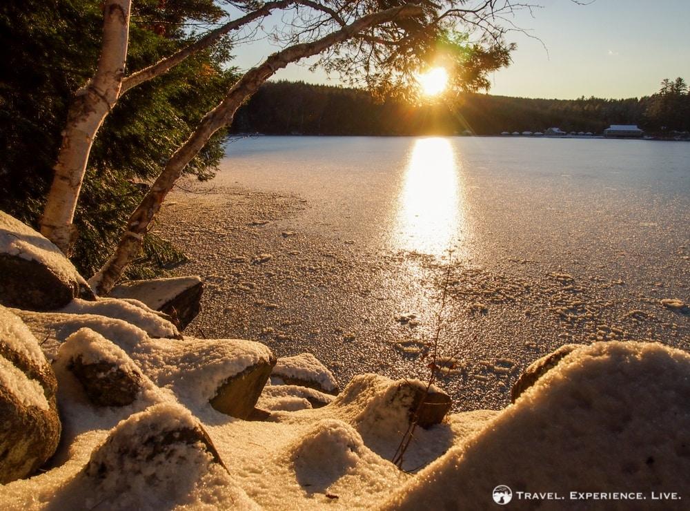 Snowy sunset over Lake Fairlee