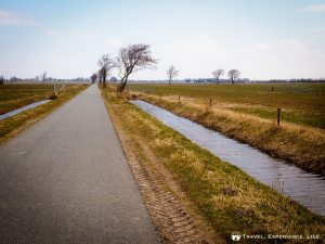 A flat and straight road in the Netherlands