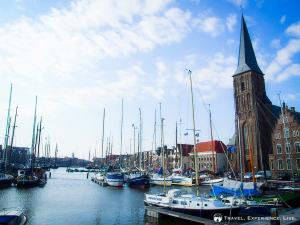 Harbor and church in Harlingen, the Netherlands