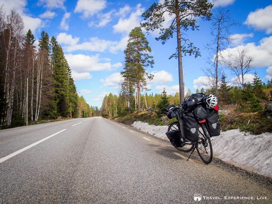 Cycling on empty Swedish roads