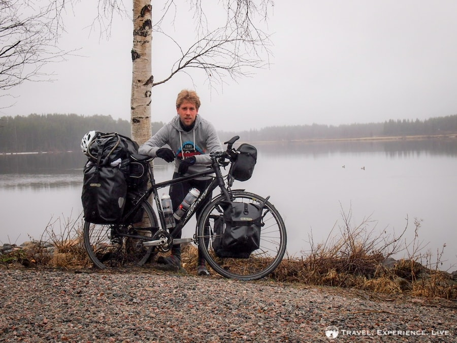 Posing for a picture before crossing the border into Finland