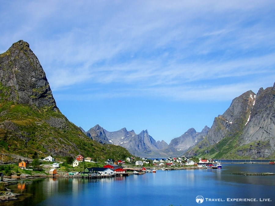 The jaw-dropping town of Reine, Lofoten Islands, from Sunglasses and Reindeer