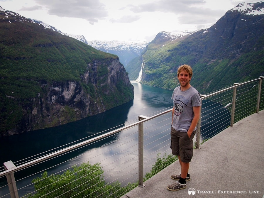 Overlooking the Geirangerfjord and the Seven Sisters Waterfall