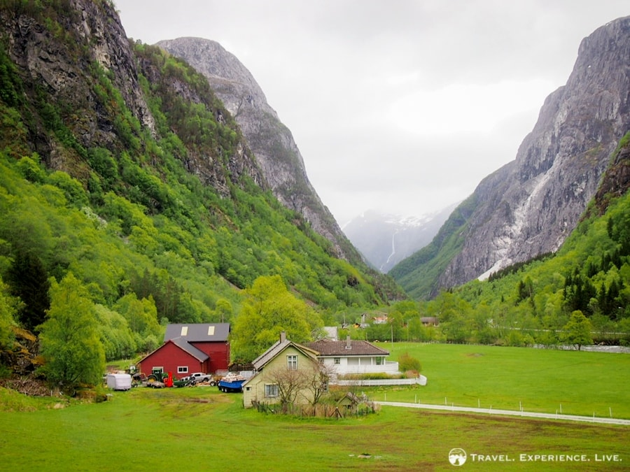 Spectacular mountain scenery surrounds Flåm, Norway