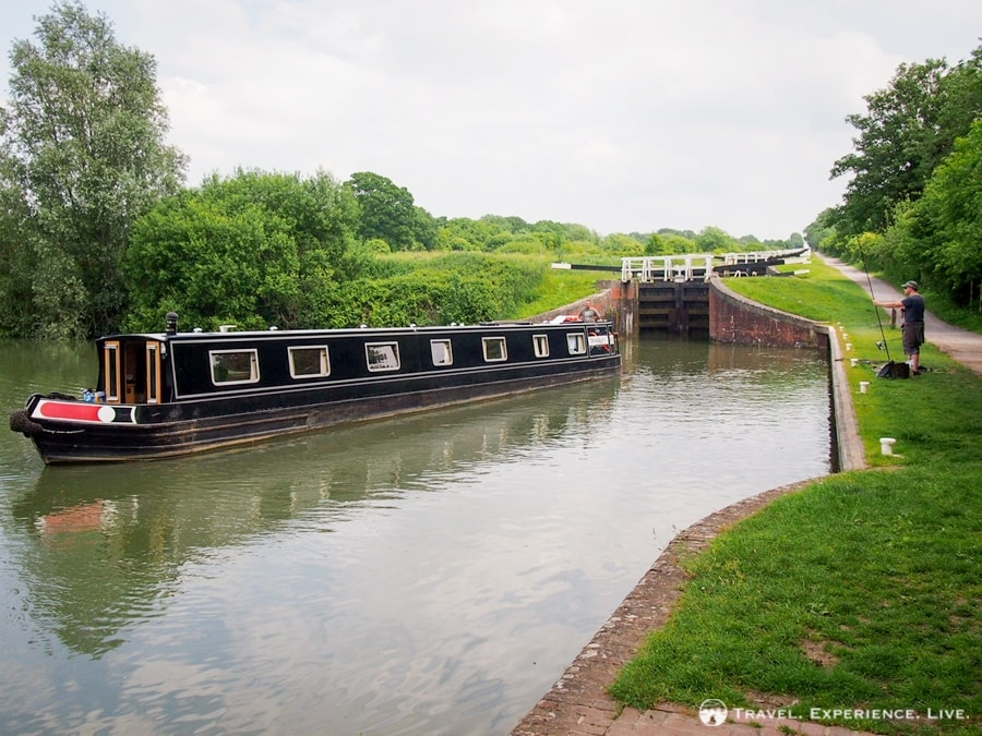 A long series of locks on the Kennet and Avon Canal, England