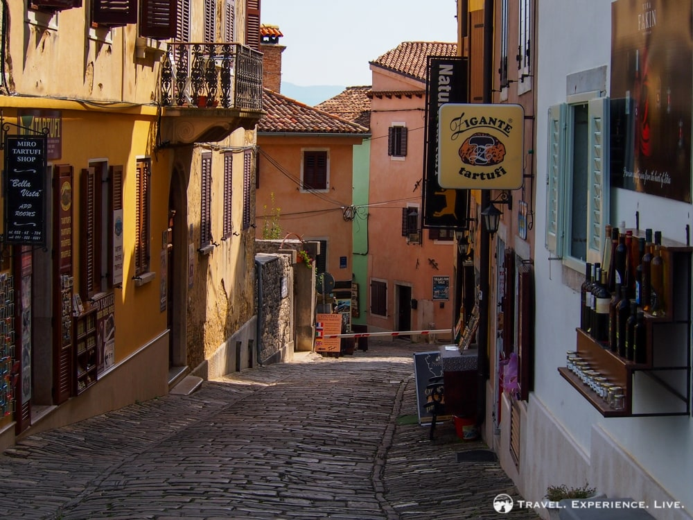 Cobbled street in Motovun, Croatia