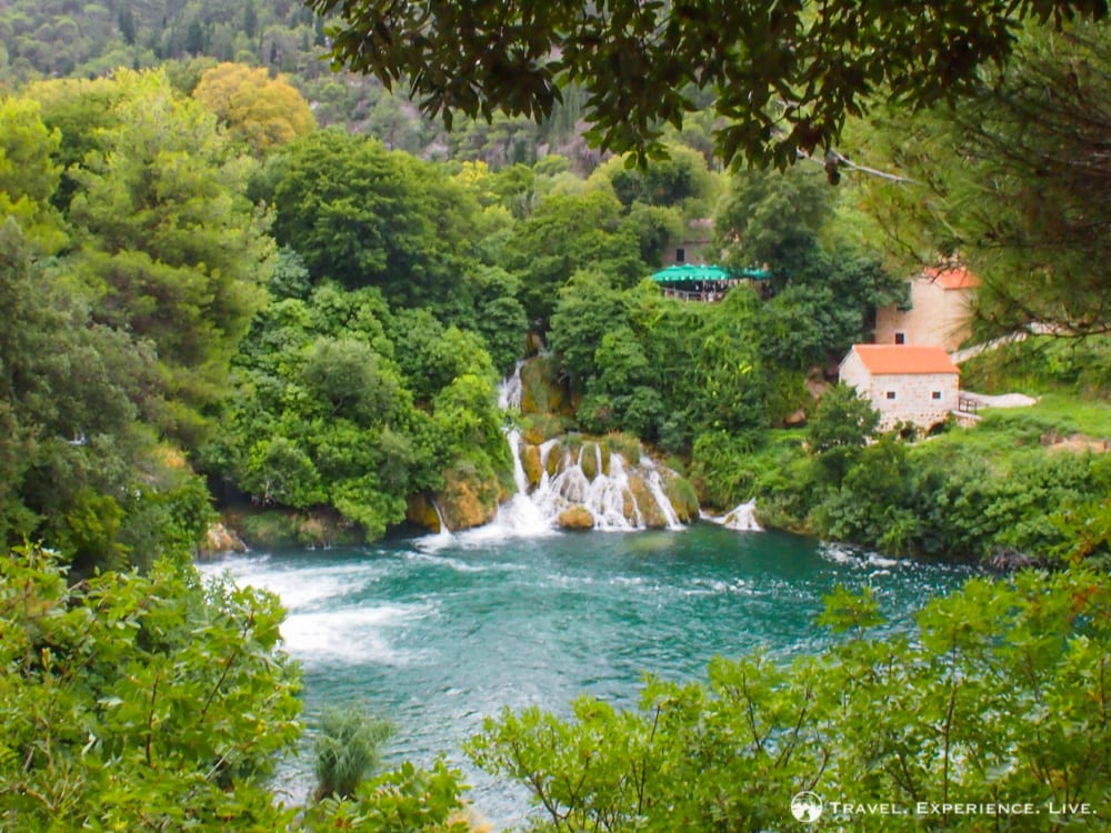 Waterfall and lake in Krka National Park, Croatia