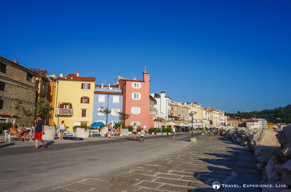 Colorful waterfront in Piran, Slovenia