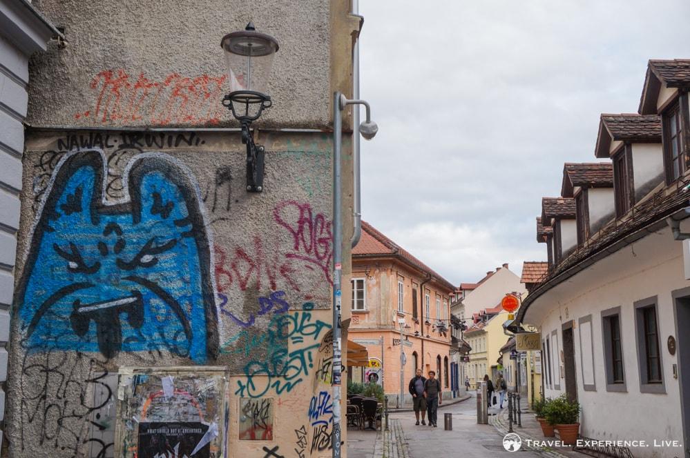 Graffiti-covered building in Ljubljana