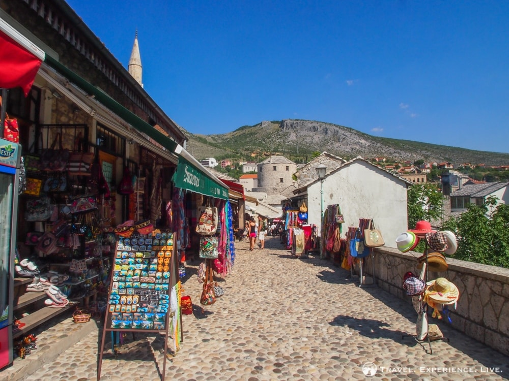 Shops lining a cobbled street, Mostar Old Town