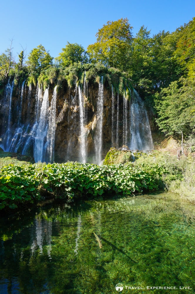 Tall waterfall in Plitvice Lakes National Park