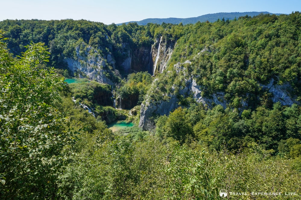 View of Plitvice Lakes National Park waterfalls