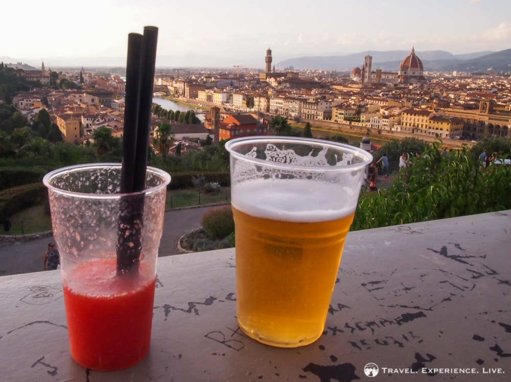 Drinks with a view, Piazzale Michelangelo, Florence
